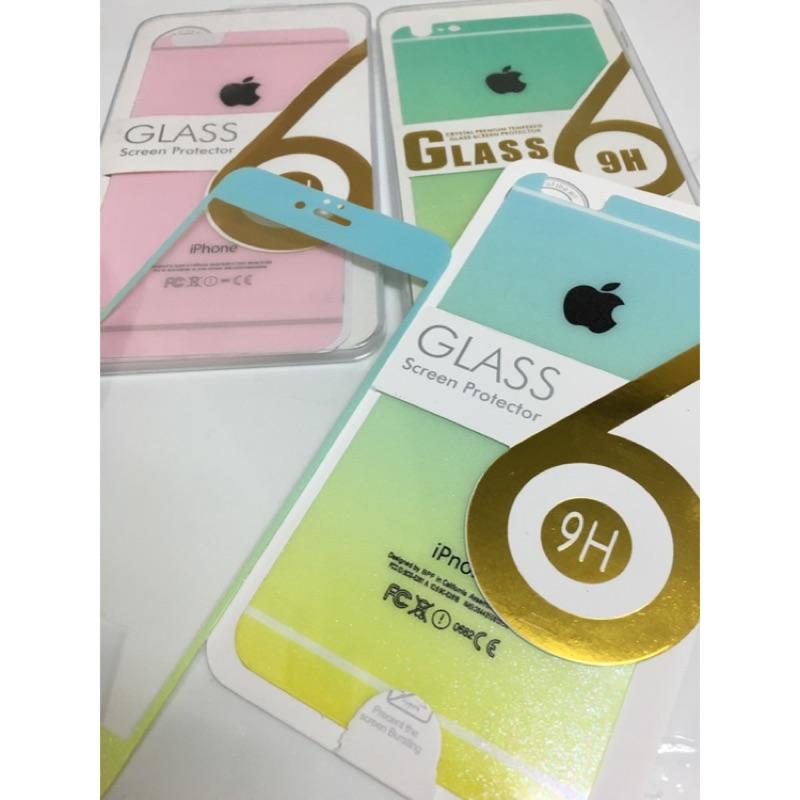 雙色粉彩前後鋼化膜I phone6 iPhone 6plus 馬卡龍賣完為止