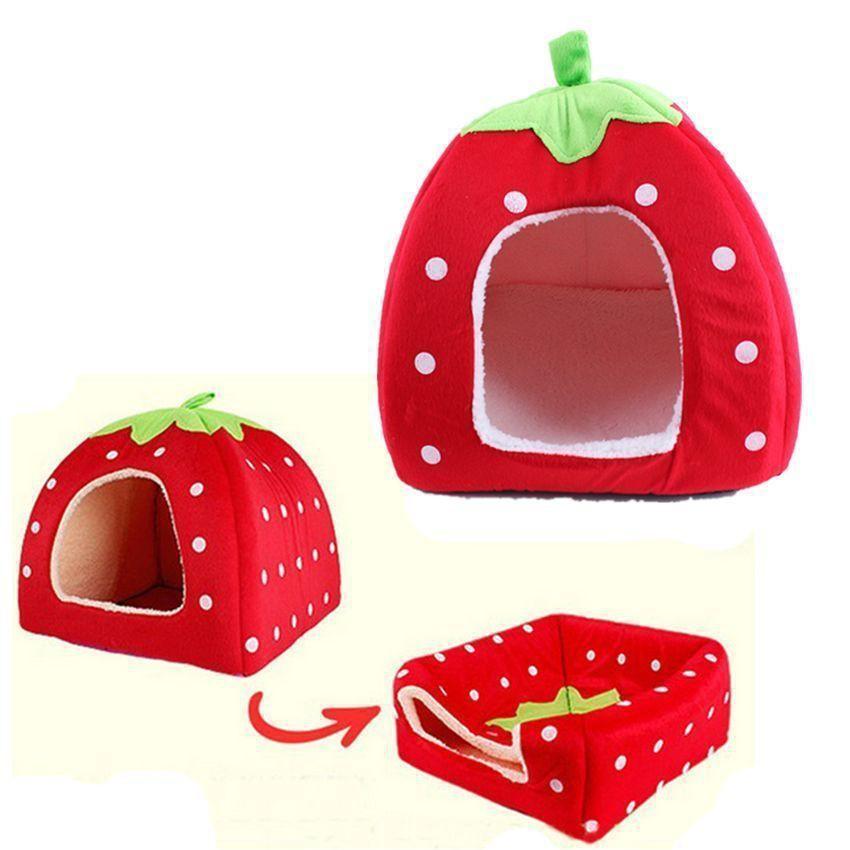 柔軟草莓圖案寵物床