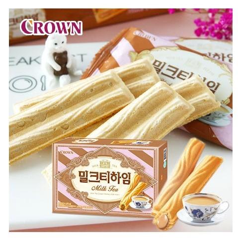 韓國CROWN 奶茶威化酥9 入裝142g 奶茶夾心餅夾心餅威化酥威化餅零食~N10230