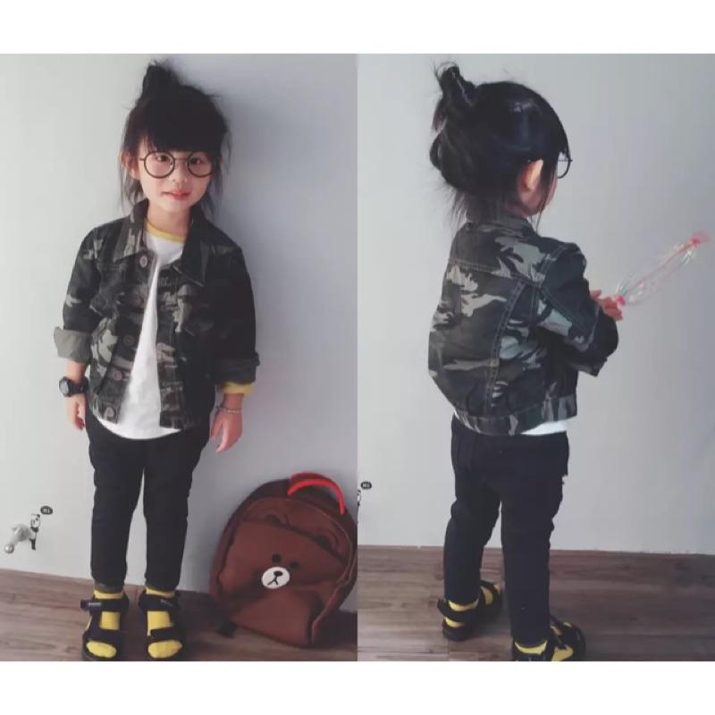 女童男童兒童小童迷彩鈕扣長袖翻領外套夾克薄款ins 同款