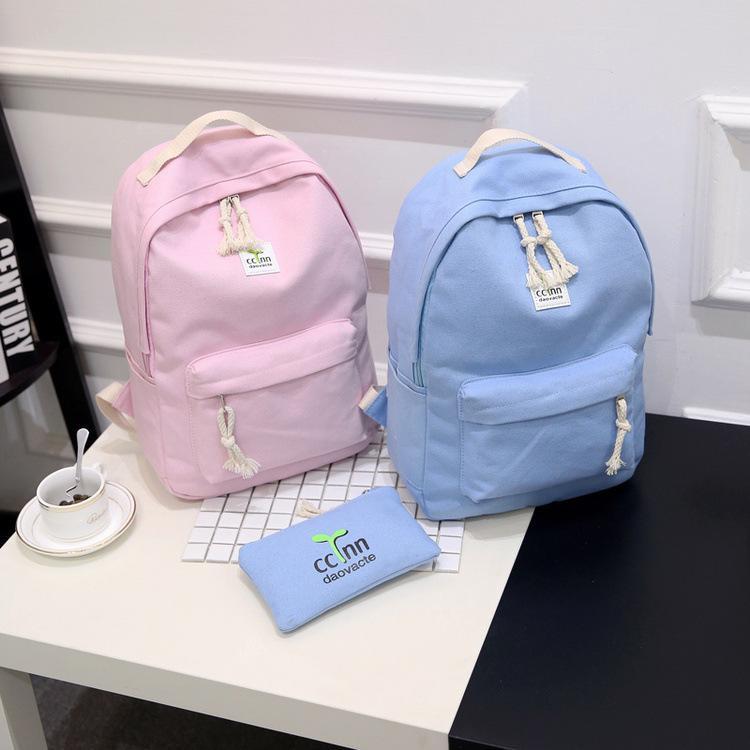 帆布雙肩包女包日 潮學院風高中學生書包初中生旅行背包小清新附帶手拿包