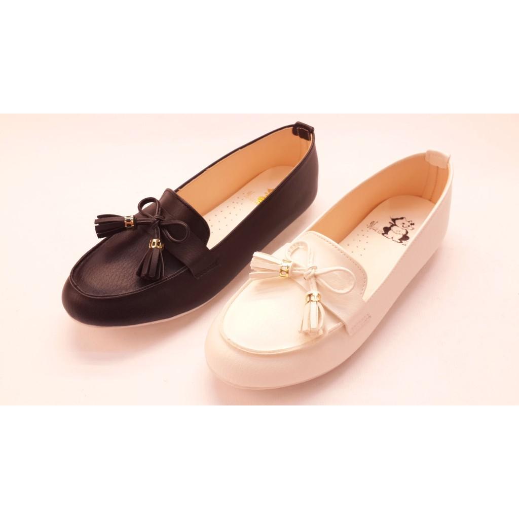 女款漆皮流蘇平底豆豆鞋休閒百搭平底包鞋帆船鞋平底鞋娃娃鞋 黑白