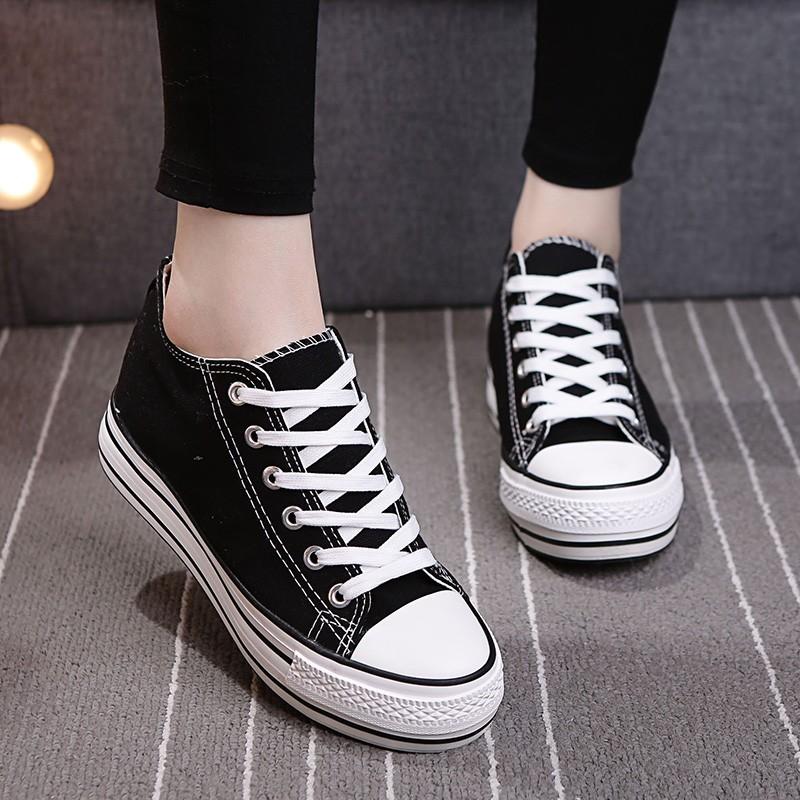潮系帶高幫帆布鞋板鞋 鞋女厚底內增高學生 鞋布鞋娃娃鞋豆豆鞋休閒鞋懶人鞋