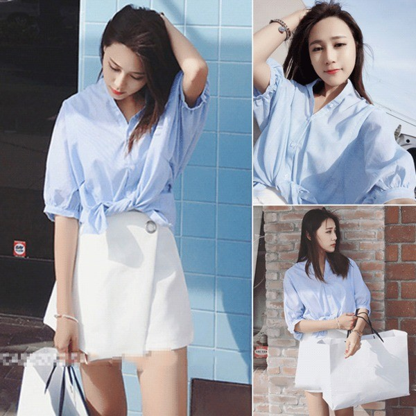2016  藍白條紋細條紋燈籠袖短款五分袖襯衫女上衣