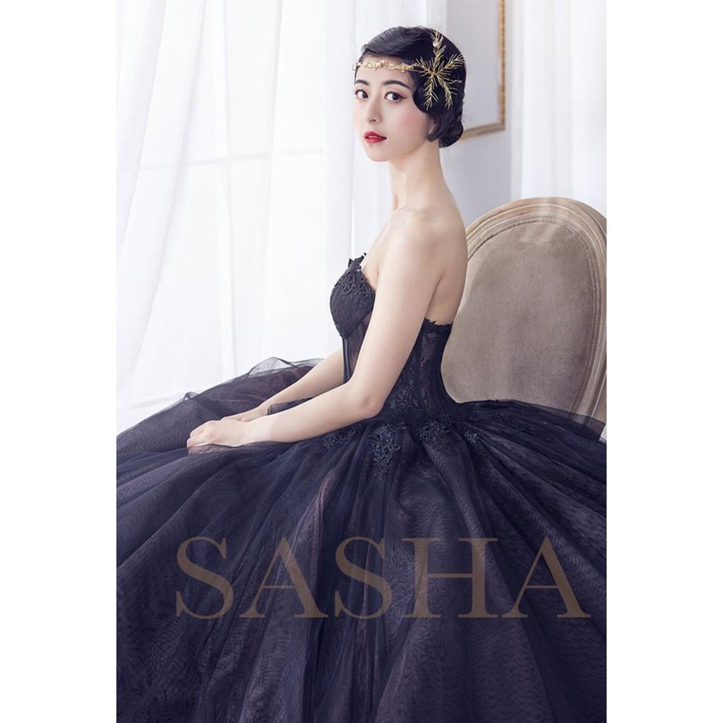 影樓主題婚紗情侶寫真服裝舞臺攝影拍照復古印花黑色婚紗禮服花