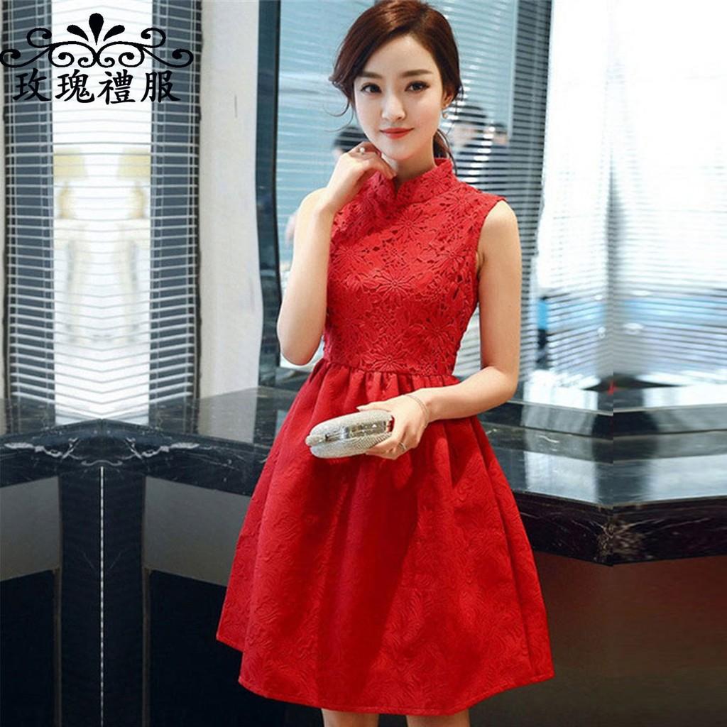 浪漫婚紗禮服新娘結婚回門敬酒禮服夏紅色連身裙大碼修身蕾絲裙子