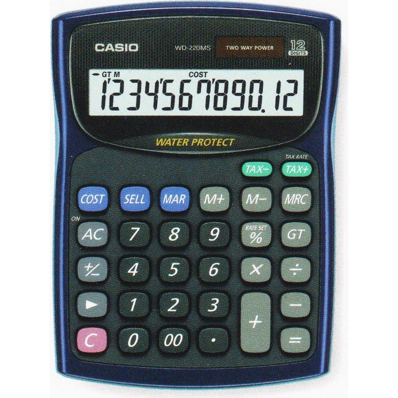 CASIO 防水防塵計算機WD 220MS 藍色可