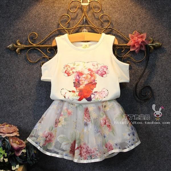女童寶寶套裝惡搞大牌花朵露肩短袖半身裙