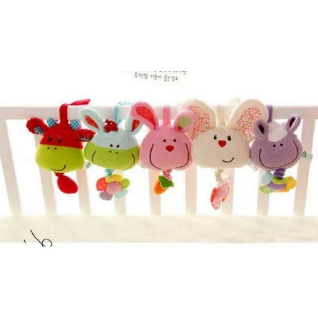 可愛動物音樂拉鈴嬰兒床掛玩具嬰兒車掛玩具寶寶安撫玩具