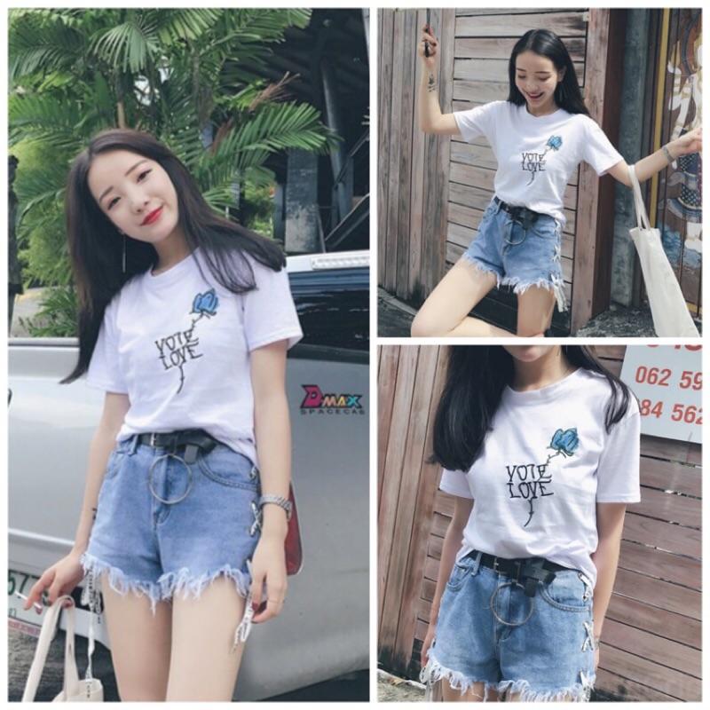 韓國學院簡約配色復古花朵刺繡短袖T 恤上衣