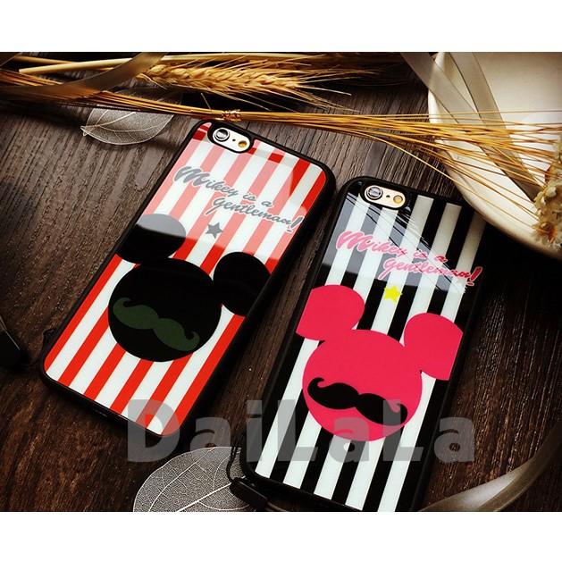 iphone 條紋米奇情侶款亮面送掛繩手機殼手機套保護套軟殼T209