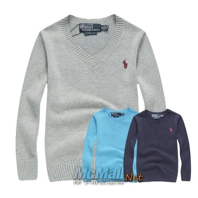 Ralph Lauren polo 童装小馬長袖V 領素面毛衣針織衫長袖T 兒童上衣男女