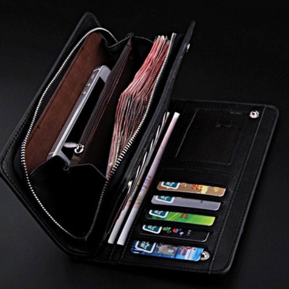 加長型男士真皮錢包皮革皮夾長夾卡夾錢包零錢 拉鍊零錢袋