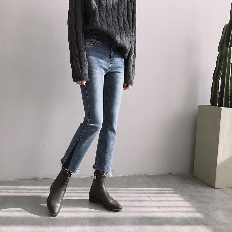 褲腳拼色!毛邊小直筒微喇九分牛仔褲✨韓國早春 店主強力