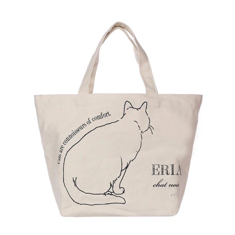 貓尾巴的幸福日單貓咪背影ZAKKA 鄉村田園風格簡單 帆布手提袋便當袋環保 袋(白貓 )