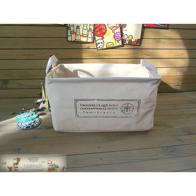 zakka 日韓棉麻法文符號雙耳收納箱收納袋環保袋洗衣袋雜物袋 檔案箱雜貨雜物