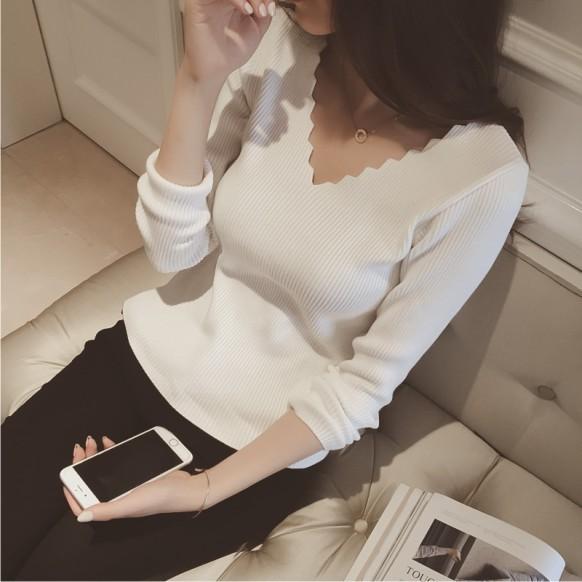 波浪邊V 領修身顯瘦版型性感素色百搭 單品 針織衫女裝硬挺版型厚度適中內搭或單穿皆可023