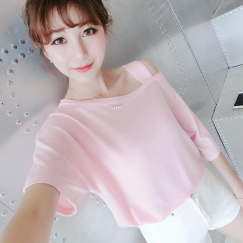 2016 新品 寬鬆顯瘦露肩斜肩短袖純色T 恤上衣