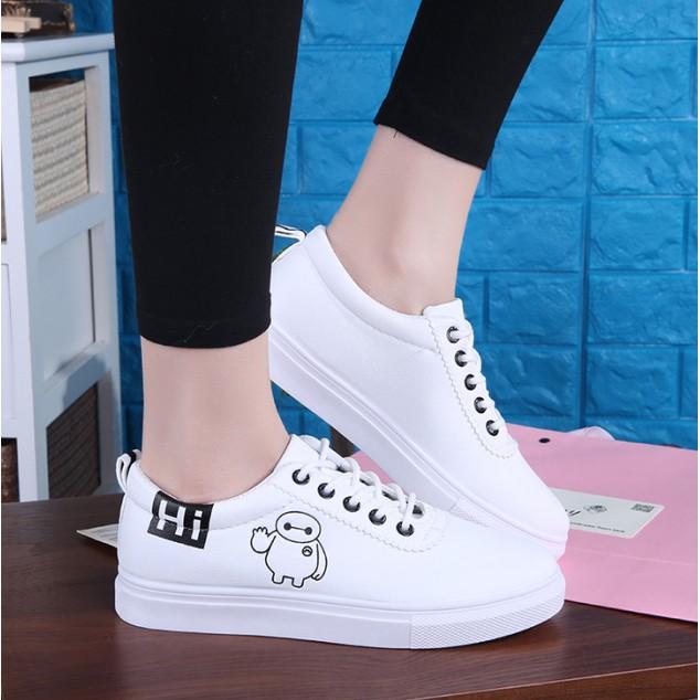 大白 鞋女鞋潮流皮面平底系帶低幫板鞋學生 百搭小白鞋