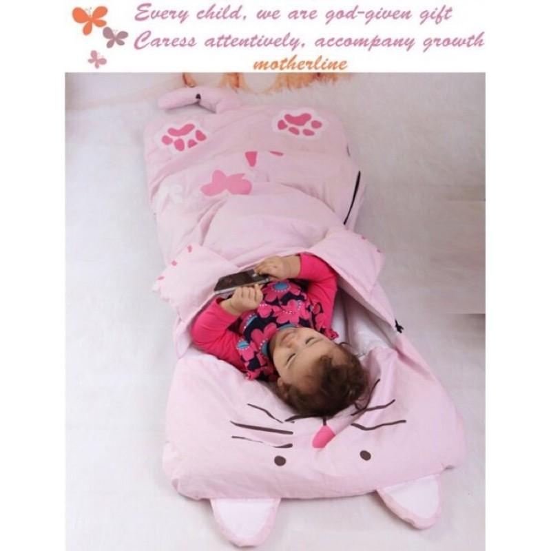 動物 睡袋兒童睡袋幼稚園睡袋防踢被粉色貓咪