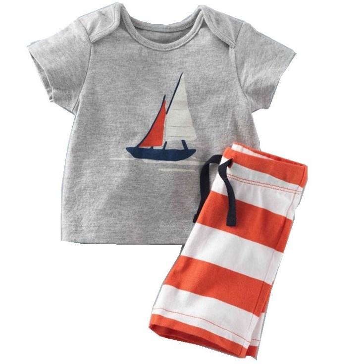 男baby 男 短袖套裝可愛風帆純棉套裝