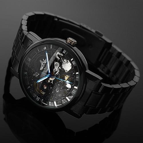 男士手錶機械表黑色鋼製品牌鏤空骷髏手錶