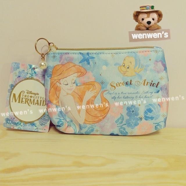 ~Wenwens ~ 帶回Disney 迪士尼小美人魚愛麗兒公主小比目魚金蔥線刺繡珍珠拉鍊