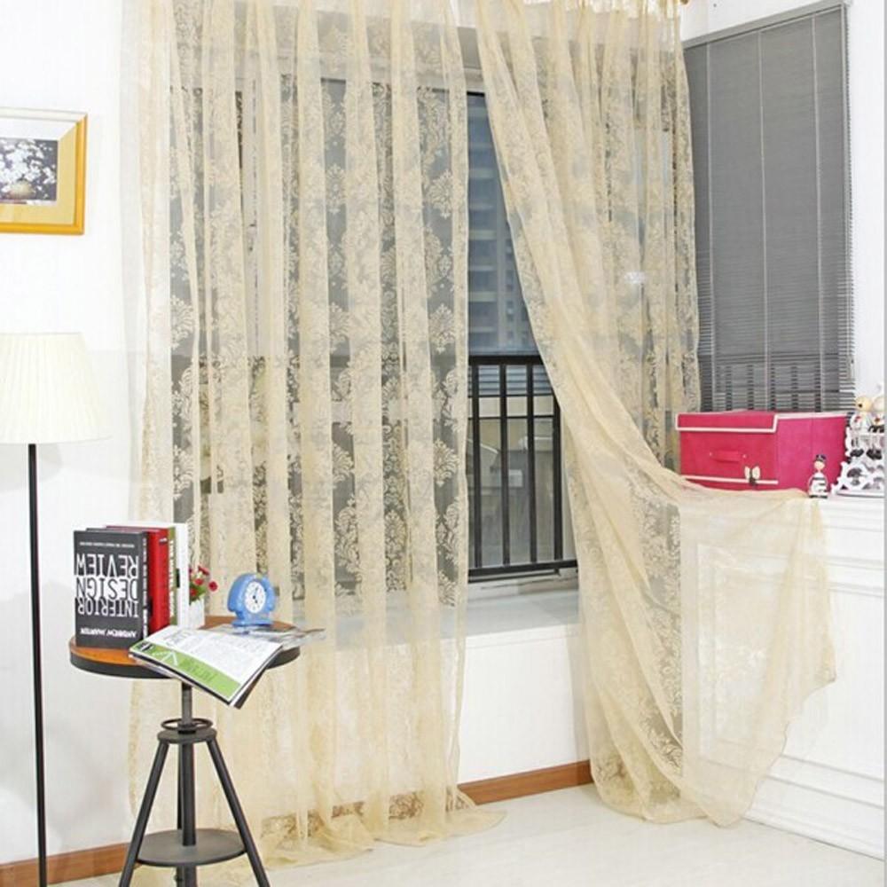 ~ ~多色 單層優雅歐洲風格花卉圖案半遮光透光窗簾窗紗飄窗落地門視窗房間裝飾客廳臥室兒童房