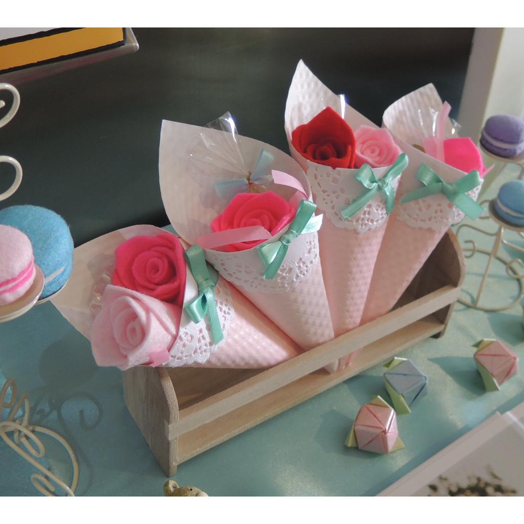 手作不織布玫瑰甜筒花婚禮居家佈置多色