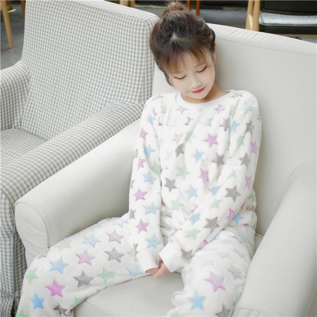 ~ ~實拍加絨加厚保暖彩色星星睡衣睡褲家居服兩件套裝睡衣少女學生