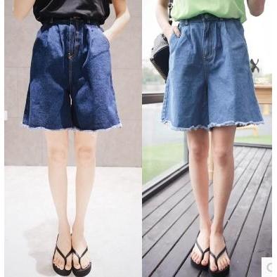 ❤淺藍色L 、深藍色XL 有 ❤2016  毛須高腰超寬鬆牛仔闊腿褲女百搭修身bf 五分牛