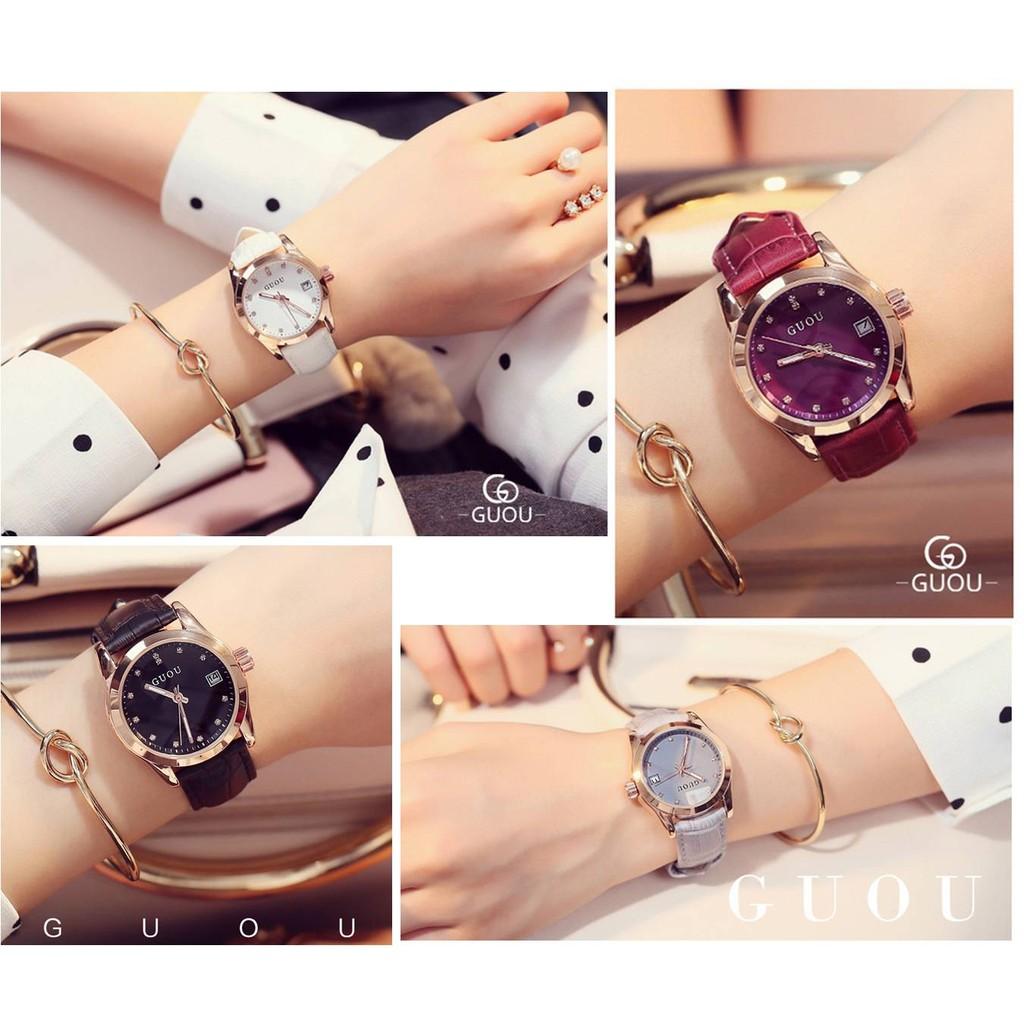 香港 手錶品牌GUOU 古歐簡約優雅帶日曆 夜光指針水鑽錶面多色氣質石英腕錶情人節物 日