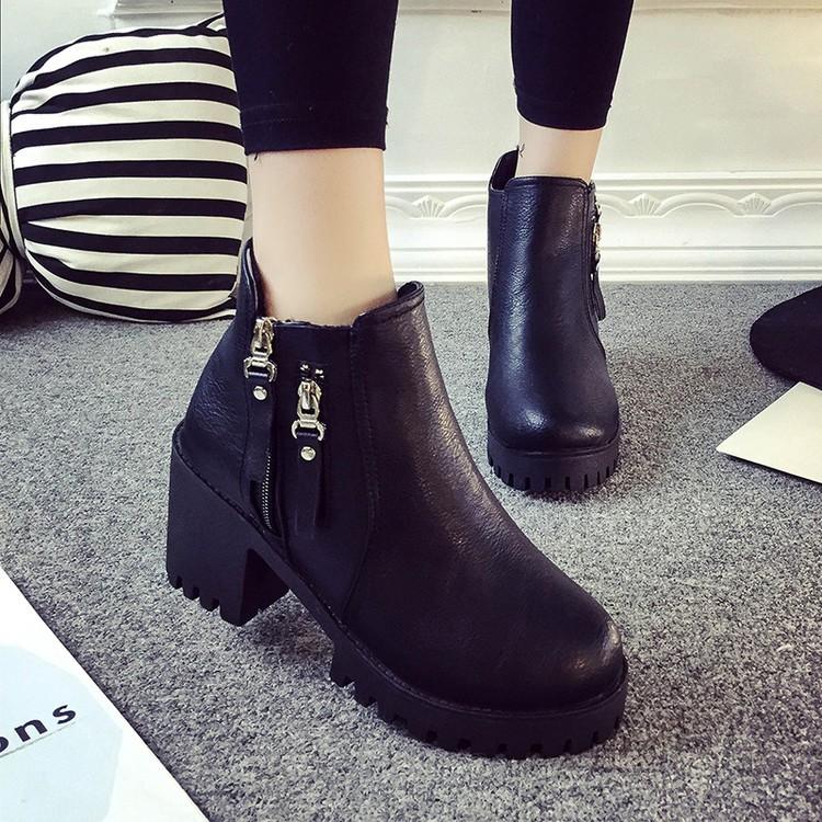 潮流美搭7 2016 短靴女防水臺女鞋側拉鏈厚底中跟粗跟裸靴馬丁靴單靴女靴