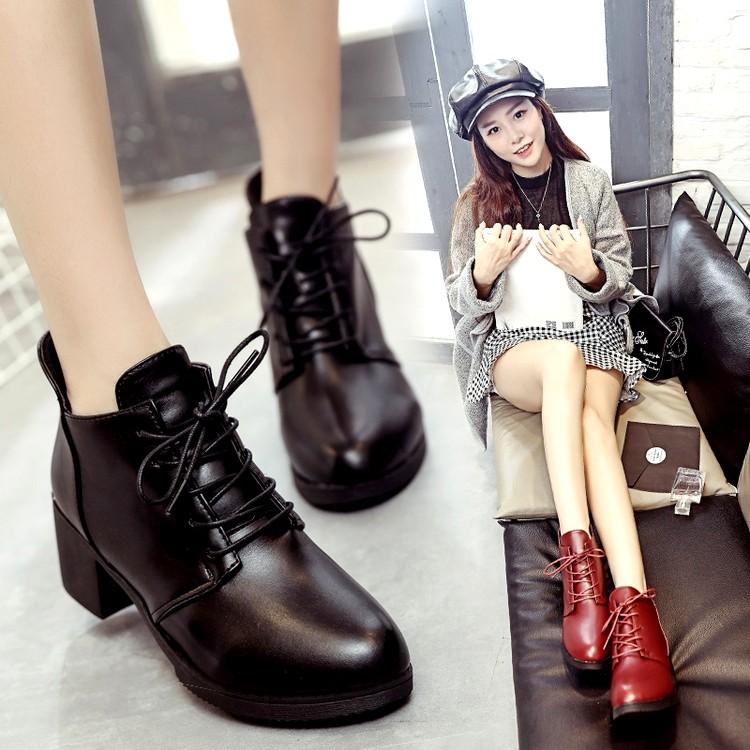 Korinne s Shop 滿400 純取貨英倫風學生圓頭繫帶中跟粗跟馬丁靴短靴女鞋