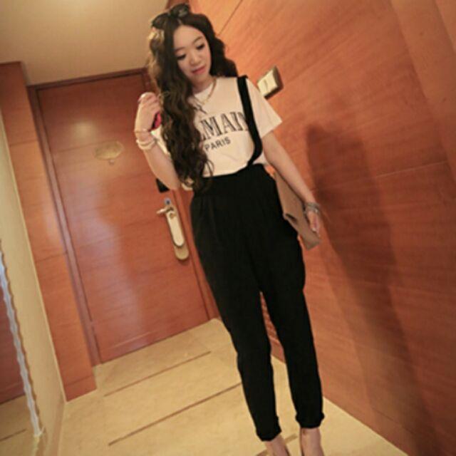 韩版型英倫洋長顯瘦吊帶西裝褲