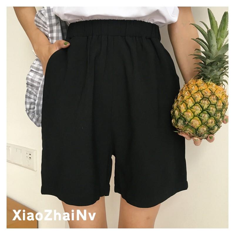 熱褲闊腿褲直筒短褲甜美日系百搭凈面直筒褲闊腿松緊腰短褲女夏