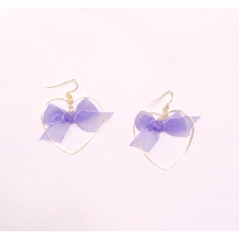 愛心紫蝴蝶結耳環耳夾