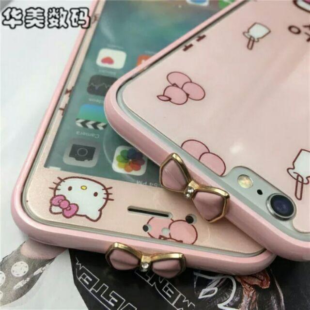 蘋果iPhone6plus 凱蒂貓玻璃膜5SE 卡通彩膜6s 全屏前後鋼化膜防爆貼