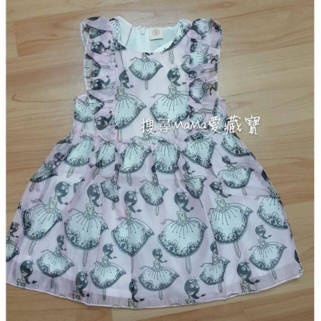 A0202 9 2016 夏裝連身裙款女童卡通跳舞女孩雪紡飛袖連衣裙