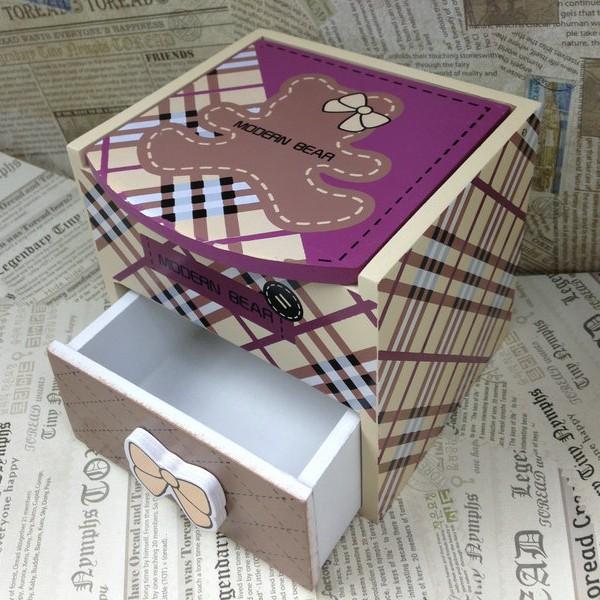 章魚球 可愛熊1 小抽木製首飾盒化妝盒收納盒置物盒飾品盒珠寶盒~0101019 ~