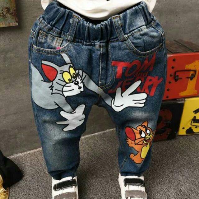 ~秋裝搶先看~男女童牛仔褲兒童  卡通牛仔長褲柔軟兒童長褲