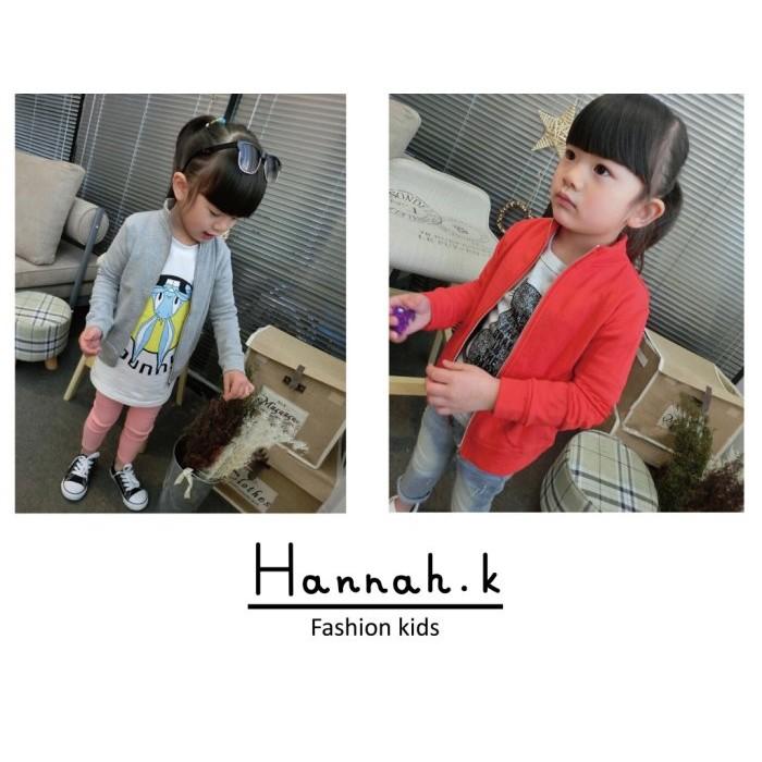 兒童孩童女童春秋 拉鍊立領外套遮陽開衫衣休閒外套薄外套灰、紅Hannah K