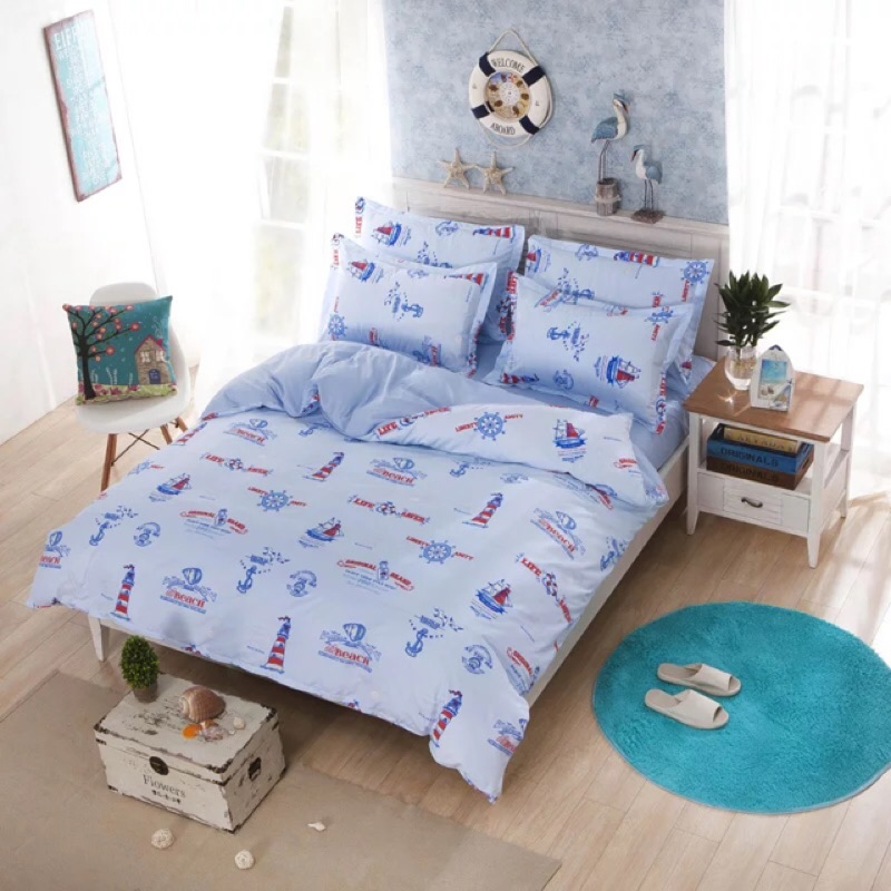 北歐海軍船員床包四件組純棉床單被套枕套組雙人床雙人加大ikea muji 無印良品專櫃兒童
