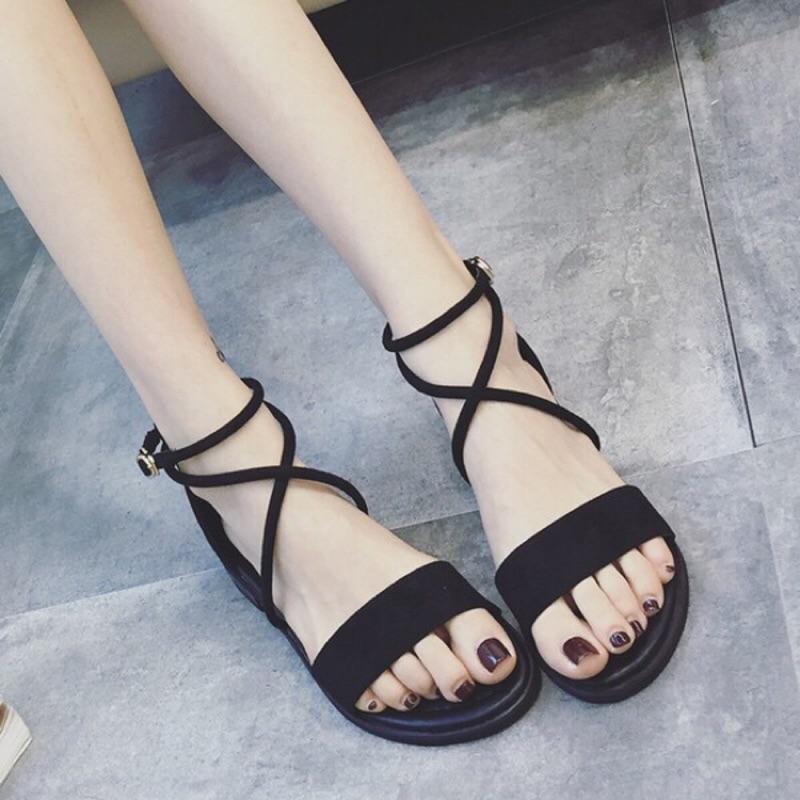 7 折強檔  性感交叉綁帶涼鞋女鞋平底涼鞋