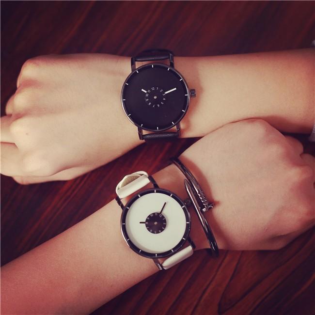 韓國 潮流原宿風手錶黑白簡約轉盤大學生男女 情侶石英皮帶