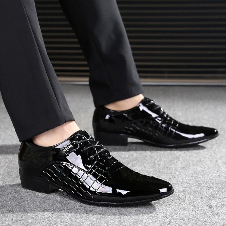 春 潮流青年男士休閒皮鞋尖頭系帶英倫男鞋髮型師亮皮鞋子