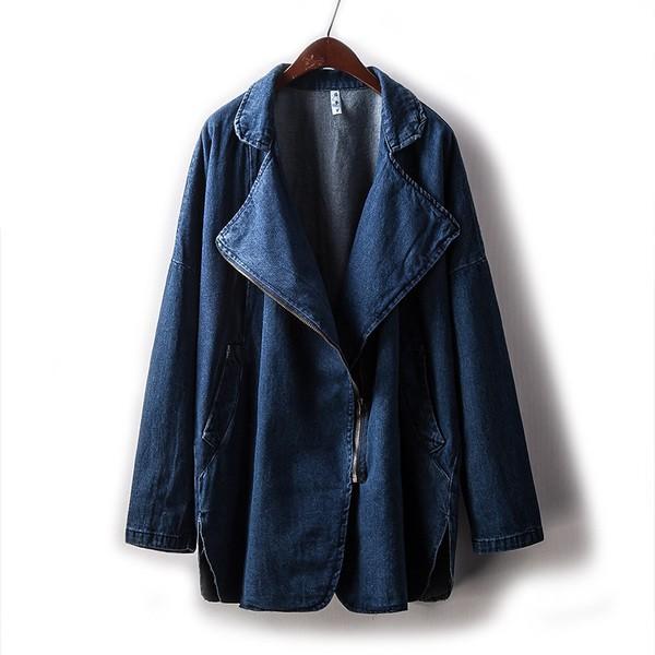 2 新品女裝牛仔外套大翻領拉鏈開衫中長款寬松夾克衫女4169