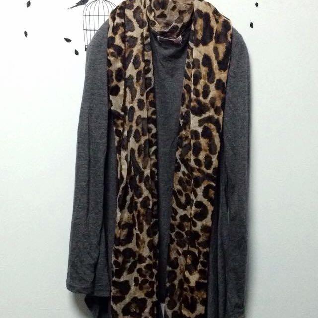 豹紋翻領不規則罩衫外套