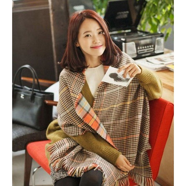 韓國格子學院風圍巾雙面格子披肩超寬加厚圍脖保暖披巾