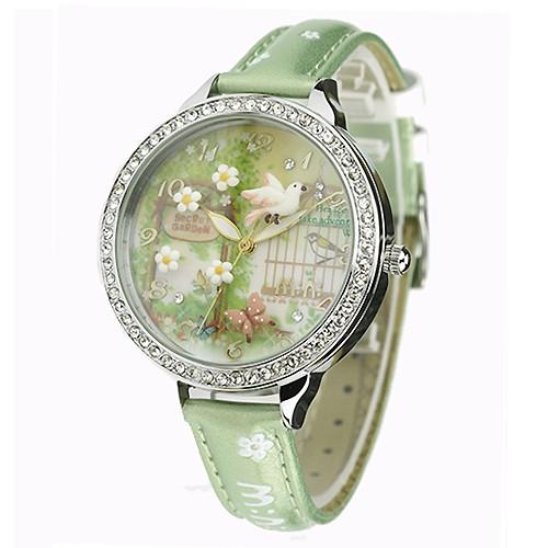 17mall ~韓國MINI ~ 軟陶 手錶3D 神秘花園夜光錶 立體捏陶錶晶鑽水鑽情人節
